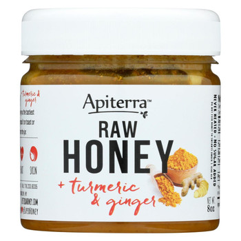 Apiterra - Raw Honey - Turmeric and Ginger - Case of 6 - 8 oz.