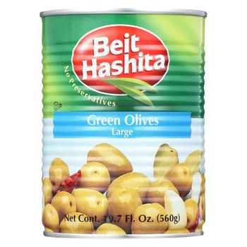 Beit Hashita - Green Olives - Large - Case of 12 - 18 fl oz.