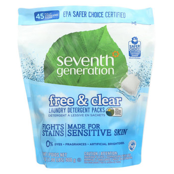 Seventh Generation - Laundry Detergent Packs - Free and Clear - 45 Count