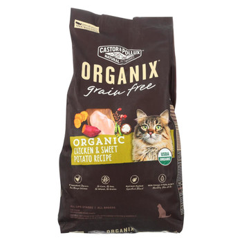 Castor and Pollux - Organix Grain Free Dry Cat Food - Chicken and Sweet Potato - Case of 5 - 6 lb.
