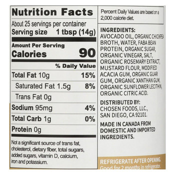Chosen Foods - Avocado Oil Vegan Mayo - Case of 6 - 12 oz.
