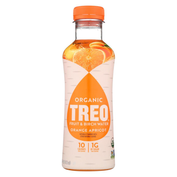 Treo Birch Water Beverage - Orange Apricot - Case of 12 - 16 fl oz.