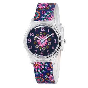 Girls navy floral analog watch