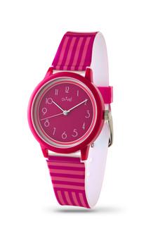 Girls analog Fuchsia and Pink Stripes watch - with Gift Box