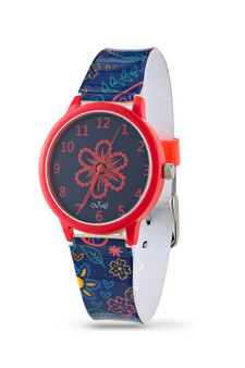Girls analog Navy Blue and Red Paisley watch - with Gift Box