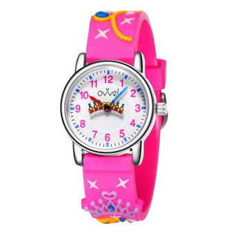 Girls analog watch with 3D princess print