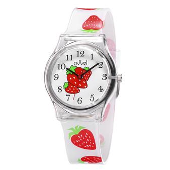Girls analog strawberry watch