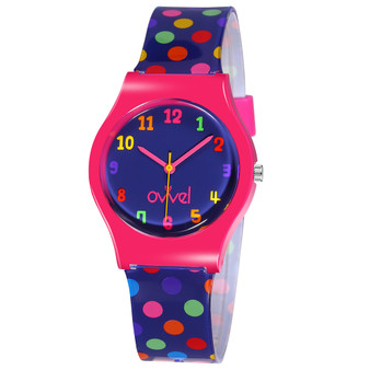 Girls analog colorful polka dotted watch
