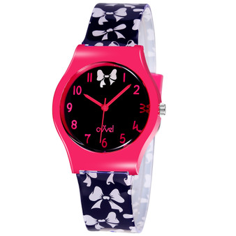 Girls analog watch with White Bows on band