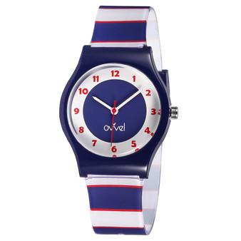 Navy & Red Stripe analog watch
