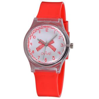 girls red gingham analog watch