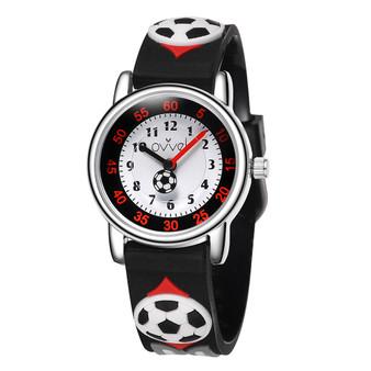 Boys black soccer analog watch