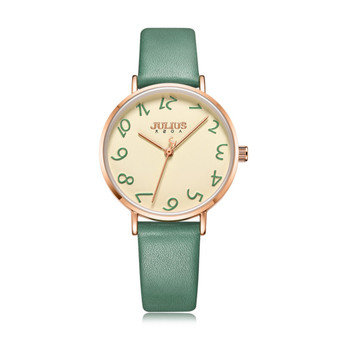 Women's Analog Casual Watch with Green Leather Strap - Gift Box Included