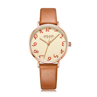 Women's Analog Casual Watch with Luggage Leather Strap - Gift Box Included
