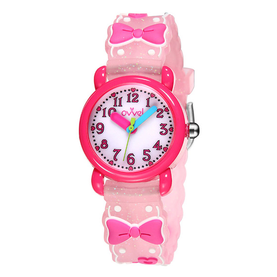 Girls analog watch with 3D Bows print