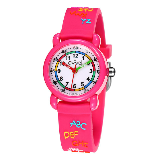 Girls analog watch with 3D ABC print