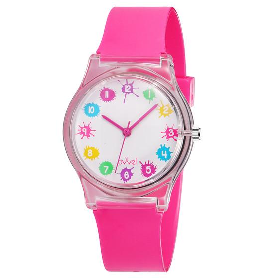 girls pink splashes analog watch