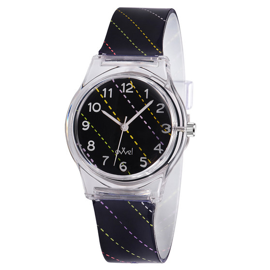 girls dotted stripe analog watch