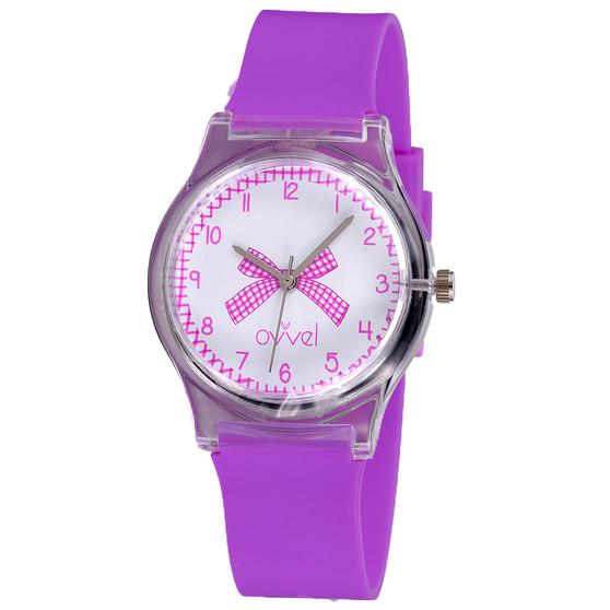 girls purple gingham analog watch