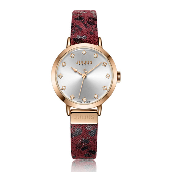 Women's Analog Watch with Burgundy Leopard Designed leather Band  - Gift Box Included