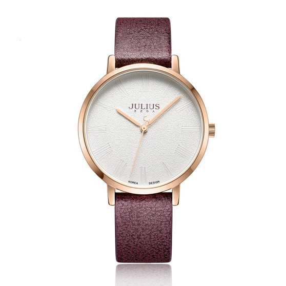 Women's Analog Watch with Burgundy Leather Band  - Gift Box Included
