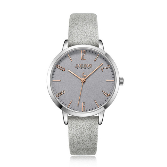 Women's Grey Color Analog Watch with Leather Band - Gift Box Included