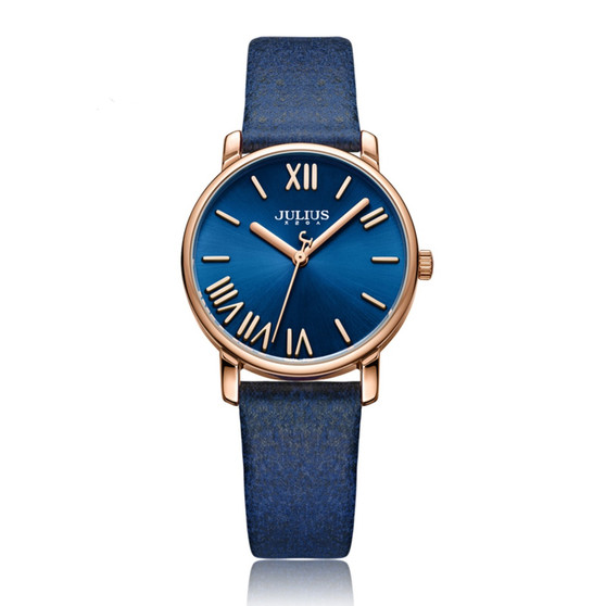 Women's Blue Color Analog Watch with Leather Band  - Gift Box Included