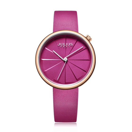 Women's Pink Color Analog Watch with Leather Band - Gift Box Included