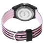 girls black & pink stripe band watch with bow in face