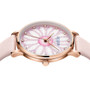 Women's Analog Watch with Sunflower Design with Mauve Leather Strap  - Gift Box Included