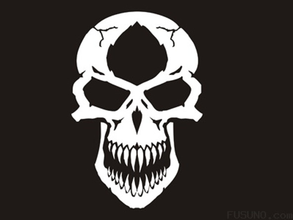 FUD-112MSW Madness Skull White decal 15cm x 10cm-5.9 x 3.9 inches