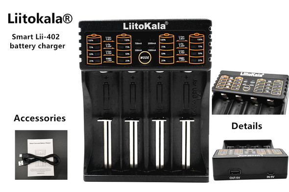 Liitokala Single Cell x4 Charger for 18650/18500 and more