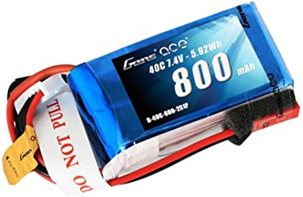 Gens ace 800mAh 2S 7.4V 40C Lipo Battery Pack with JST-SYP Plug