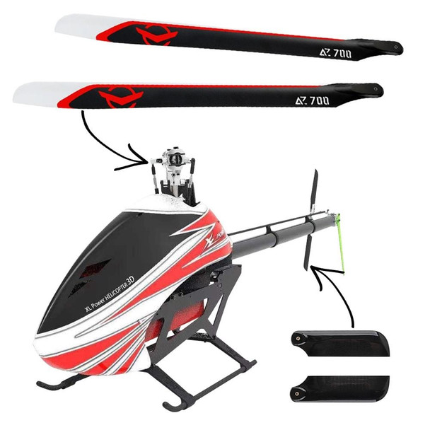 XLPower Specter 700 V2 Kit With Azure 700mm & XLPower 105mm Tail Blades