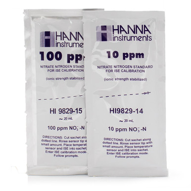 10 ppm and 100 ppm Nitrate (as N) Calibration Standard Sachets for HI9829 (10 x 25 mL each)