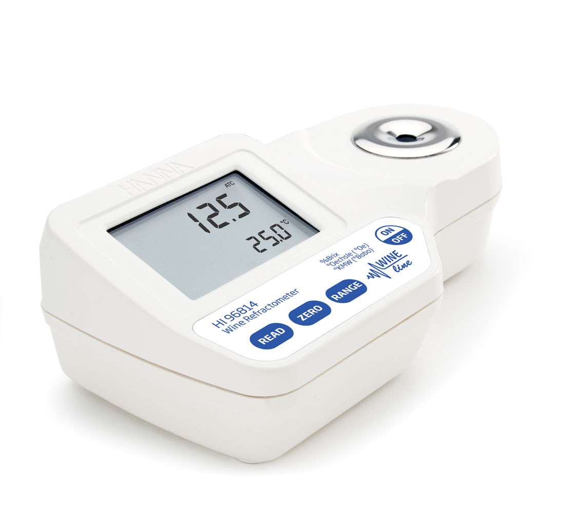 Digital Refractometer for % Brix, °Oe and °KMW Sugar Analysis in Wine, Juice and Must