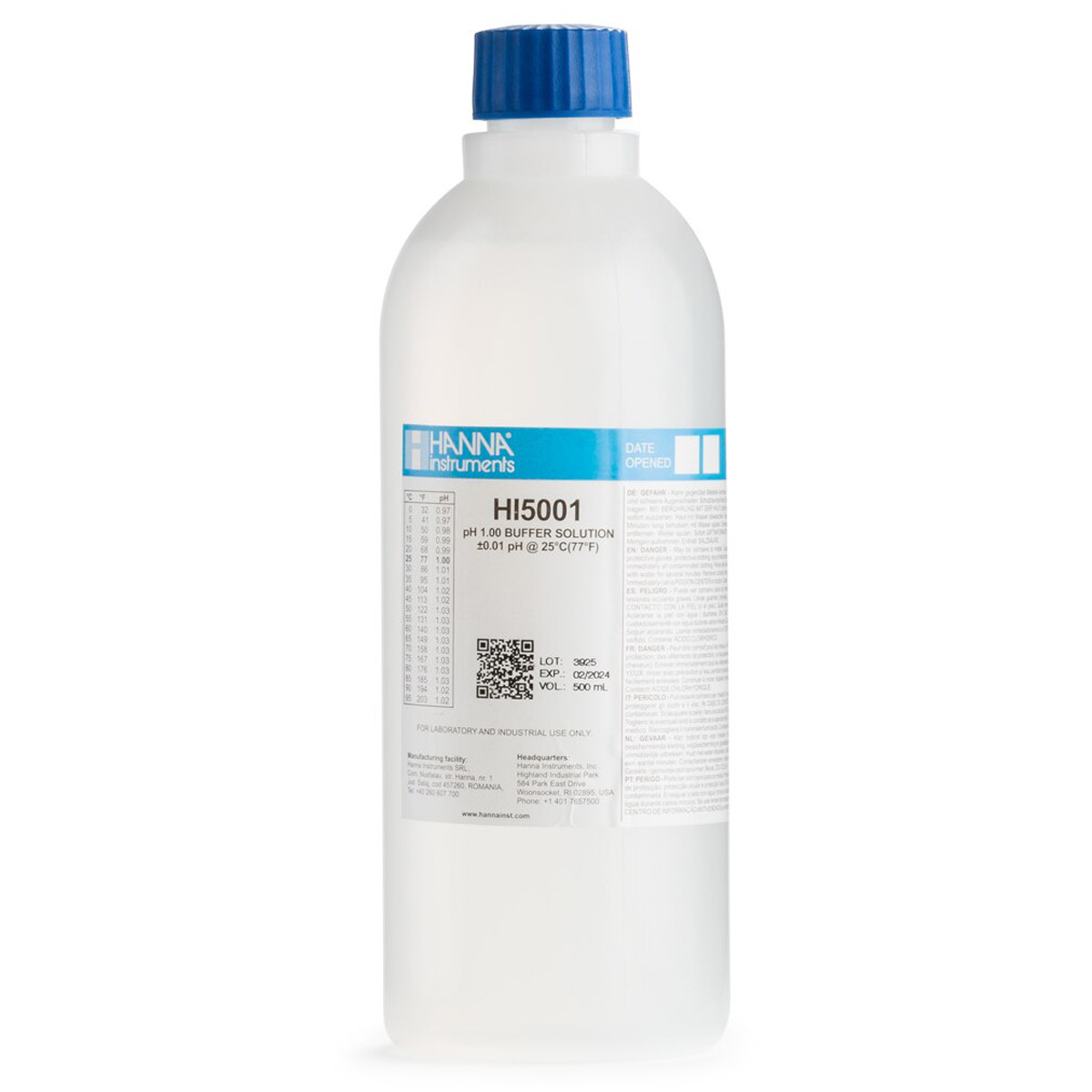 pH 1.00 Technical Calibration Buffer (500 mL)(Certificate Supplied)