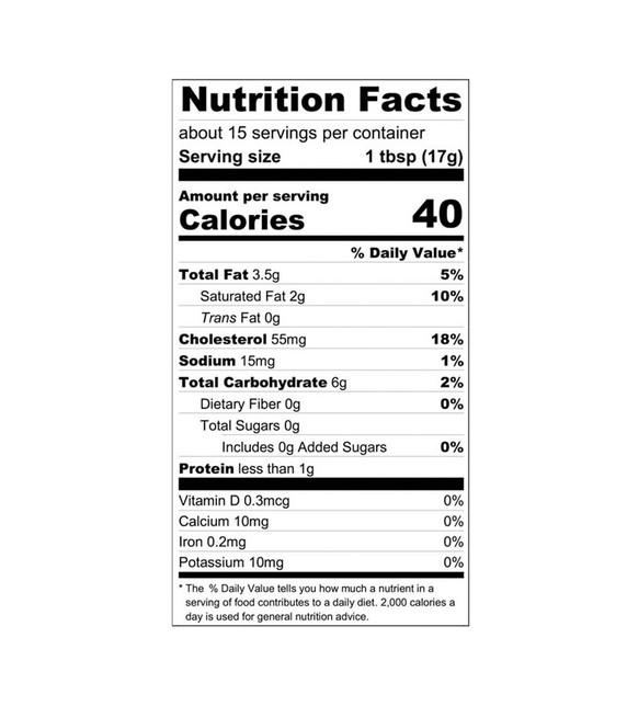 Lemon Curd Nutrition Label