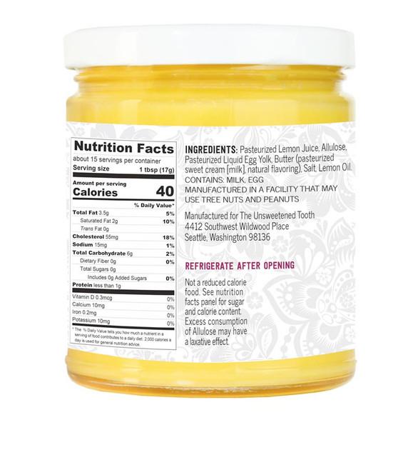 Lemon Curd Ingredient Label