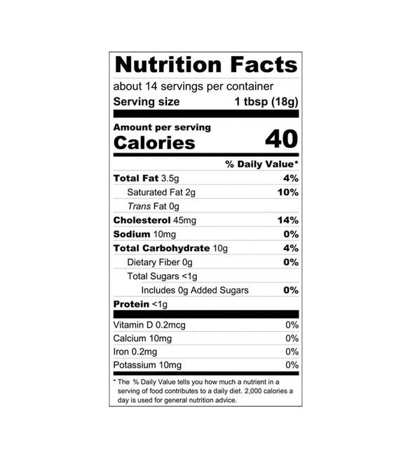 Blackberry Fruit Curd Nutrition Label