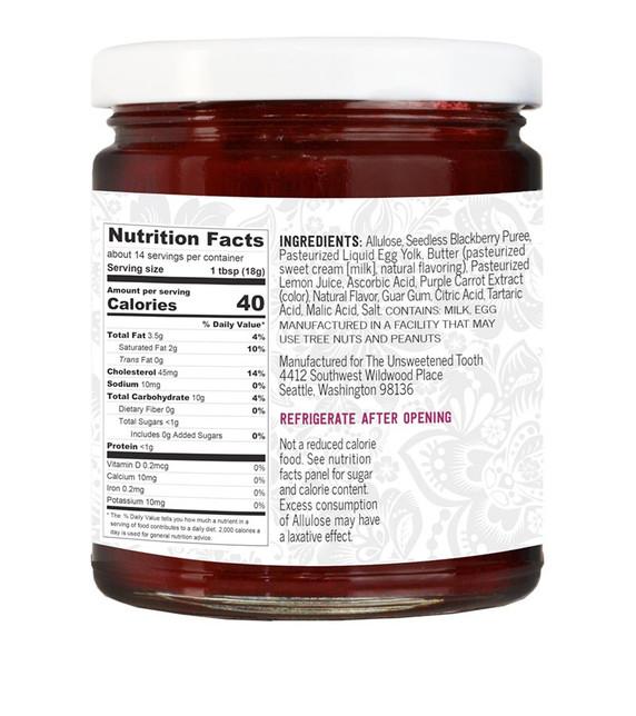 Blackberry Fruit Curd Ingredients Label