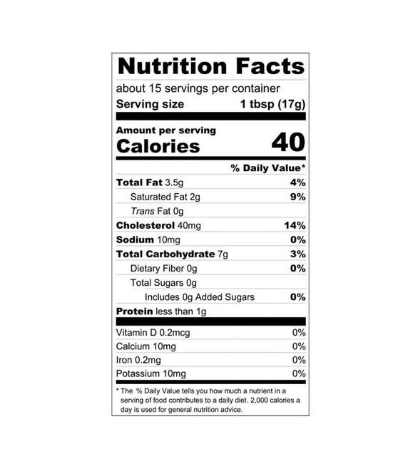 Peach Fruit Curd Nutrition Label