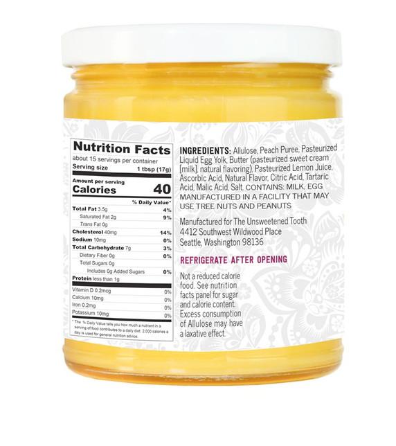 Peach Fruit Curd Ingredient Label