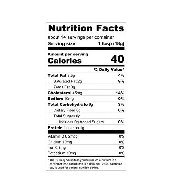 Sour Cherry Fruit Curd Nutrition Label