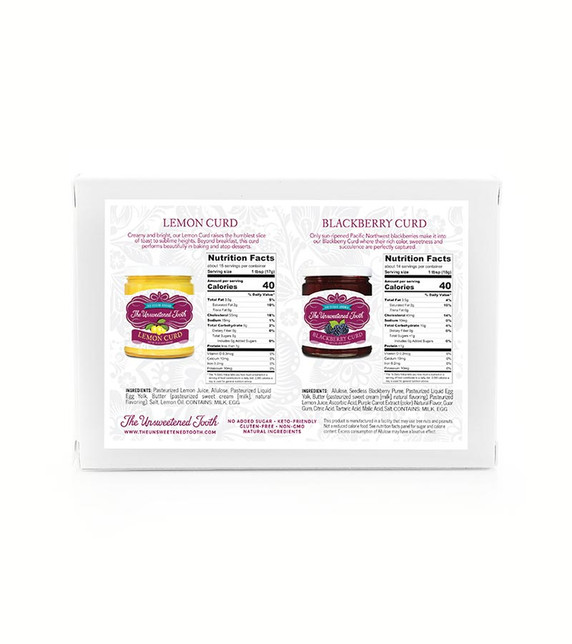 No Sugar Added Traditional English Fruit Curds Nutritional Label