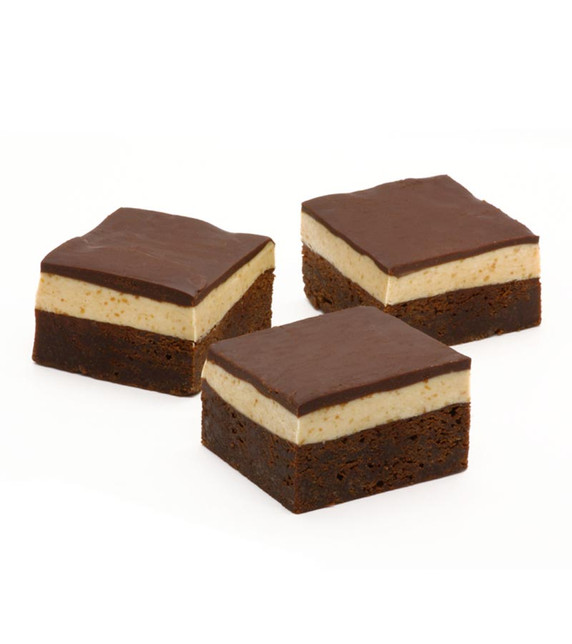 Peanut Butter Mousse Brownies with ganache