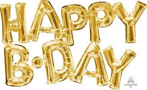 "30"" Happy Birthday Gold - AIR FILL"