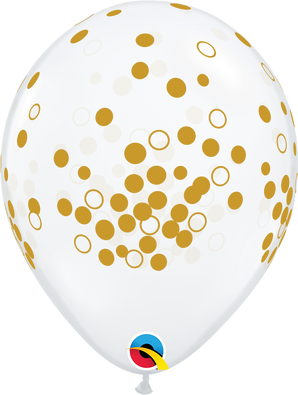"11"" Qualatex Gold Confetti Dots - 50 Ct."
