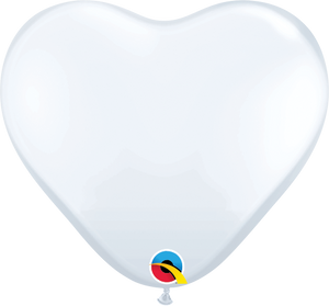 "6"" Qualatex White Hearts - 100 Ct."