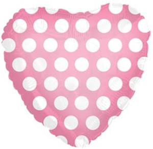 "18"" Pink Heart with White Polka Dots"
